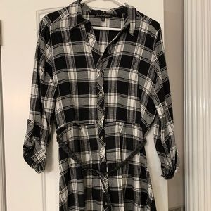 Dresses & Skirts - Flannel shirt dress with belt